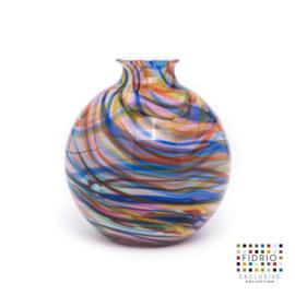 Design vaas Fidrio - glas kunst sculptuur - Bolvase - caribbean - mondgeblazen - 23 cm diep --