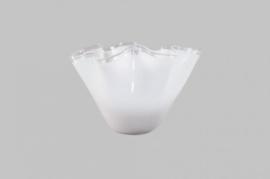 Design vaas Fidrio - glas kunst sculptuur - wave bol - Opal - mondgeblazen - 28 cm hoog