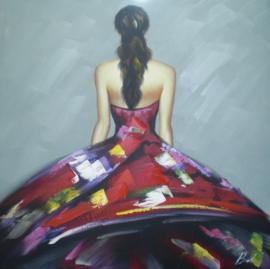 Olieverfschilderij - Vrouw in kleurrijke jurk - 100x100 cm