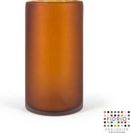 Design vaas Cilinder Frosted - Fidrio Amber - glas, mondgeblazen bloemenvaas - diameter 16 cm hoogte 30 cm