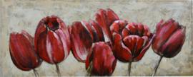 3D Schilderij Metaal - Rode Tulpen - 150x60 cm