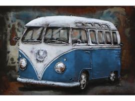60 x 40 cm - 3D art Schilderij Metaal - Blauwe SAMBA Bus - Volkswagen T1 - oldtimer - handgeschilderd