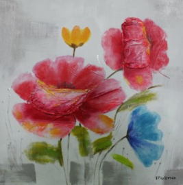 100 x 100 cm - Olieverfschilderij - Rode Bloemen - natuur handgeschilderd