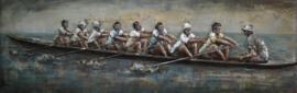 180 x 60 cm - 3D art Schilderij Metaal Roeien - handgeschilderd