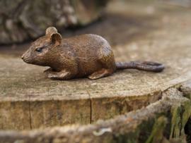 Beeld brons - Tuinbeeld - beeld muis - bronzartes - 4 cm hoog - voor huis en tuin