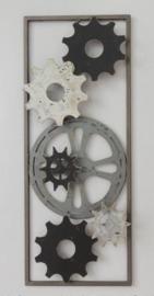 25 x 60 cm - wanddecoratie schilderij metaal - Frame Art - Tandwielen