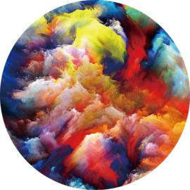 80 cm rond - Glasschilderij - rond schilderij fotokunst - Abstract - foto print op glas