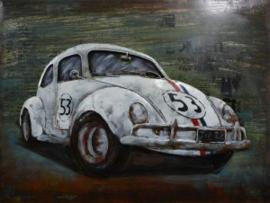 80 x 60 cm - 3D art Schilderij oldtimer Metaal Volkswagen Kever - metaalschilderij - handgeschilderd