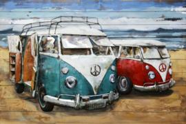 120 x 80 cm - 3D art Schilderij oldtimer Metaal en hout - Volkswagen busjes T1 - handgeschilderd