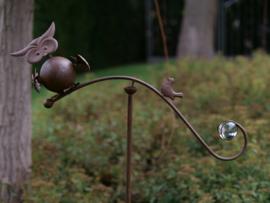 Metalen tuinsteker - tuindecoratie - Uil