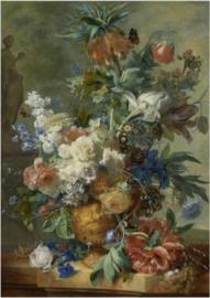 Foto op hout - Stilleven met bloemen, Jan van Huysum
