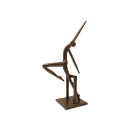 Bronzen beeldje - sculptuur - figuur - in beweging gepatineerd