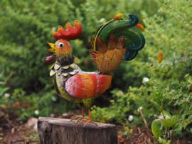 Tuinbeeld - metalen beeld - Kleurrijke haan