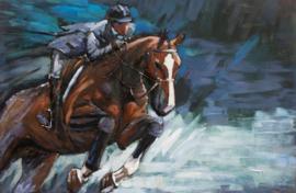 120 x 80 cm - 3D art Schilderij Metaal Paardenrace - metaalschilderij - handgeschilderd