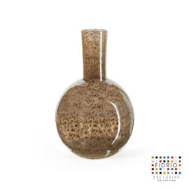 Design vaas Fidrio - glazen sculptuur - Bronze - globe - glas - mondgeblazen - bloemenvaas - 26 cm hoog --