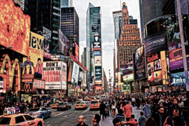 120 x 80 cm - Glasschilderij stadsgezicht - New York - schilderij fotokunst - Foto print op glas