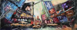 150 x 60 cm - 3D art Schilderij Metaal Broadway - times square - new york - stadsgezicht handgeschilderd