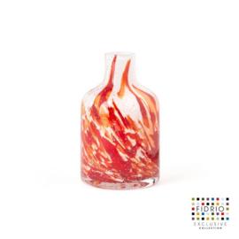 Design vaas Fidrio - glas kunst sculptuur - bottle - Rosso - mondgeblazen - 13 cm hoog --
