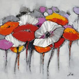 Olieverfschilderij - Kleurrijke Bloemen - 100x100 cm