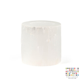 Design vaas Fidrio - kaarsenhouder - steen - Selenite - Hurricane medium - 10 cm hoog --