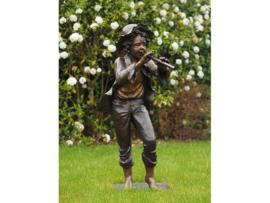 Tuinbeeld - groot bronzen beeld - Jongen met fluit - Bronzartes