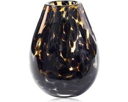 Design vaas Organic - Fidrio leppard - glas, mondgeblazen bloemenvaas - hoogte 20 cm