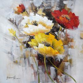 Olieverfschilderij - Boeket bloemen - 100x100 cm