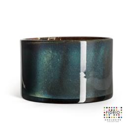 Design vaas Fidrio - glas kunst sculptuur - cilinder - Moonlight - mondgeblazen - 14,5 cm hoog