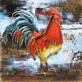 80 x 80 cm - 3D art Schilderij Metaal Kleurrijke Haan - metaalschilderij - handgeschilderd