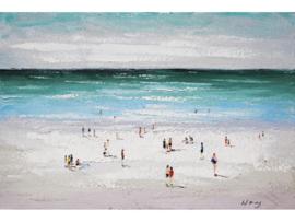 120x80 cm - Olieverf Schilderij Strand - Vakantie - handgeschilderd