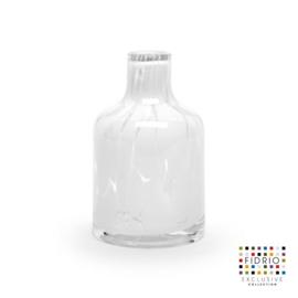 Design vaas Fidrio - glas kunst sculptuur - bottle - White granulat - mondgeblazen - 13 cm hoog --