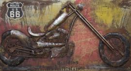 3D Schilderij Metaal - Chopper Motor Route 66 - 140x70 cm