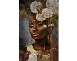 80 x 120 cm - Glasschilderij - Vrouw met bloementooi - schilderij fotokunst - foto print op glas
