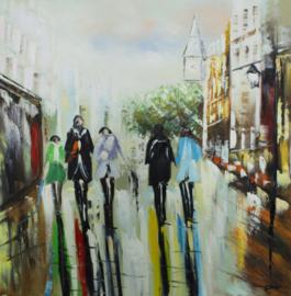 100 x 100 cm - Olieverfschilderij - Mensen Stad