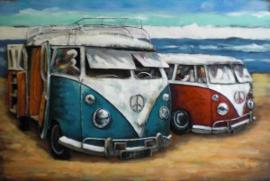 120 x 80 cm - 3D art Schilderij oldtimer Metaal Hippie busje - metaalschilderij Volkswagen T1 - handgeschilderd