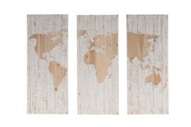 Houten kunst - Wanddecoratie hout - wereldkaart - 3 luik
