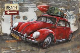 120 x 80 cm - 3D art Schilderij Metaal - Volkswagen Kever - oldtimer - handgeschilderd