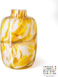 Design vaas Fidrio - glas kunst sculptuur - toronto - mustard - mondgeblazen - 27 cm hoog
