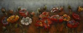 150 x 60 cm - 3D art Schilderij Metaal Bloemenveld - metaalschilderij - handgeschilderd