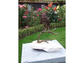 Tuinbeeld - bronzen beeld - Vogel op tak - Bronzartes - 22 cm hoog