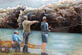 120 x 80 cm - 3D art Schilderij Metaal Samen gaan vissen - metaalschilderij - handgeschilderd