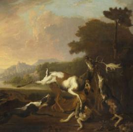 60 x 60 cm - Schilderij Dibond - de hertenjacht - Abraham Hondius