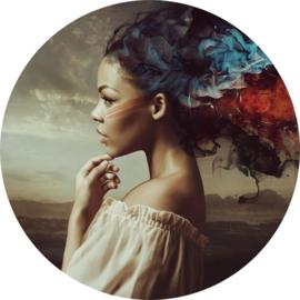100 cm rond - Glasschilderij - schilderij fotokunst - vrouw - kleurrijk haar  -   foto print op glas