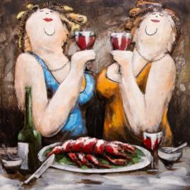 80 x 80 cm - 3D art Schilderij Metaal -  2 vrouwen - handgeschilderd