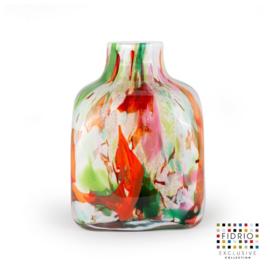 Design vaas Fidrio - glas kunst sculptuur - cube - Mixed colours - mondgeblazen - 16 cm hoog