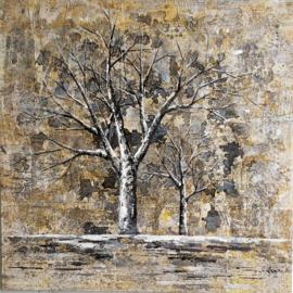 100 x 100 cm - Olieverfschilderij - Bomen Bruin - natuur - handgeschilderd