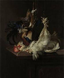 80 x 120 cm - Plexiglas klassiek schilderij - Stilleven met Gevogelte - klassieke kunst afbeelding op acryl - oude meesters!
