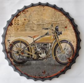 rond 33 cm - Wanddecoratie schilderij bierdop kroonkurk - Motor