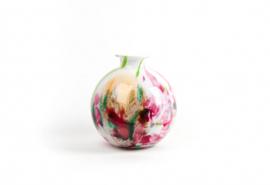 Design vaas Fidrio - glas kunst sculptuur - bolvase - mixed colours - mondgeblazen - 23 cm diep --
