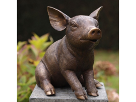 Tuinbeeld brons - bronzen beeld varken - Bronzartes